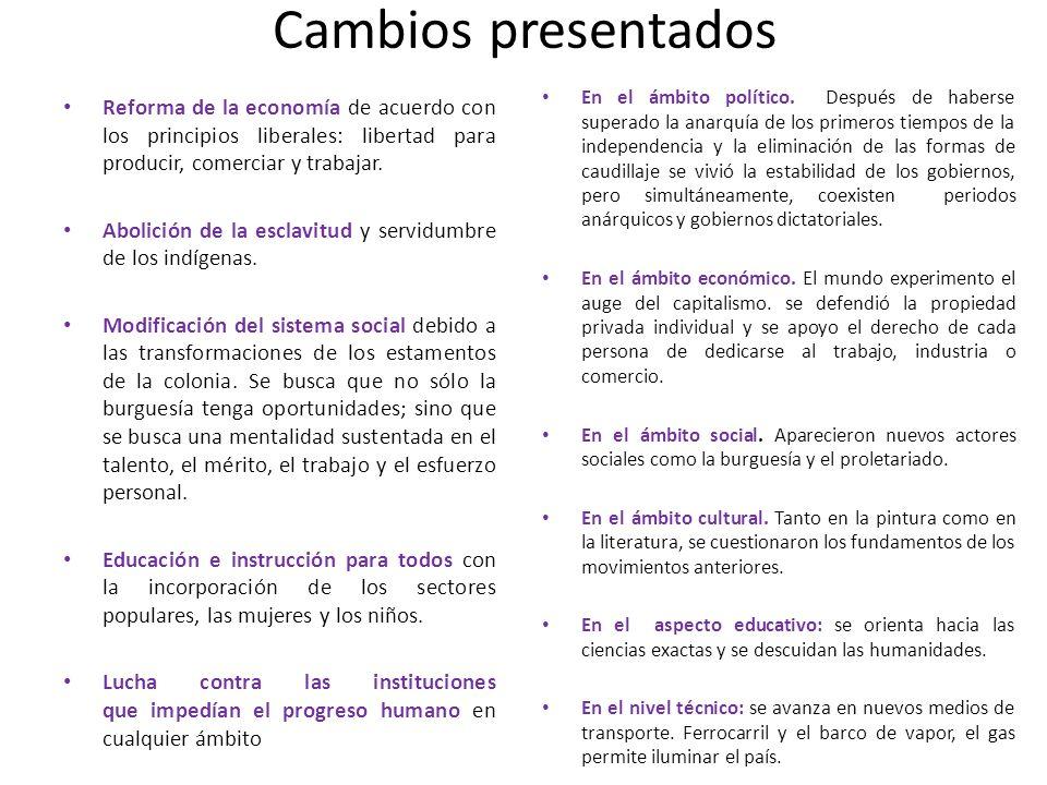 Cambios presentados Reforma de la economía de acuerdo con los principios liberales: libertad para producir, comerciar y trabajar. Abolición de la escl