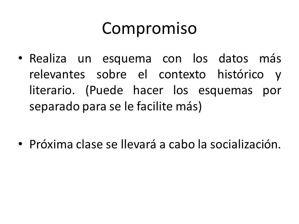 Compromiso Realiza un esquema con los datos más relevantes sobre el contexto histórico y literario. (Puede hacer los esquemas por separado para se le