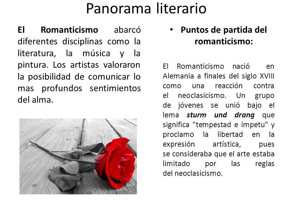 Panorama literario El Romanticismo abarcó diferentes disciplinas como la literatura, la música y la pintura. Los artistas valoraron la posibilidad de