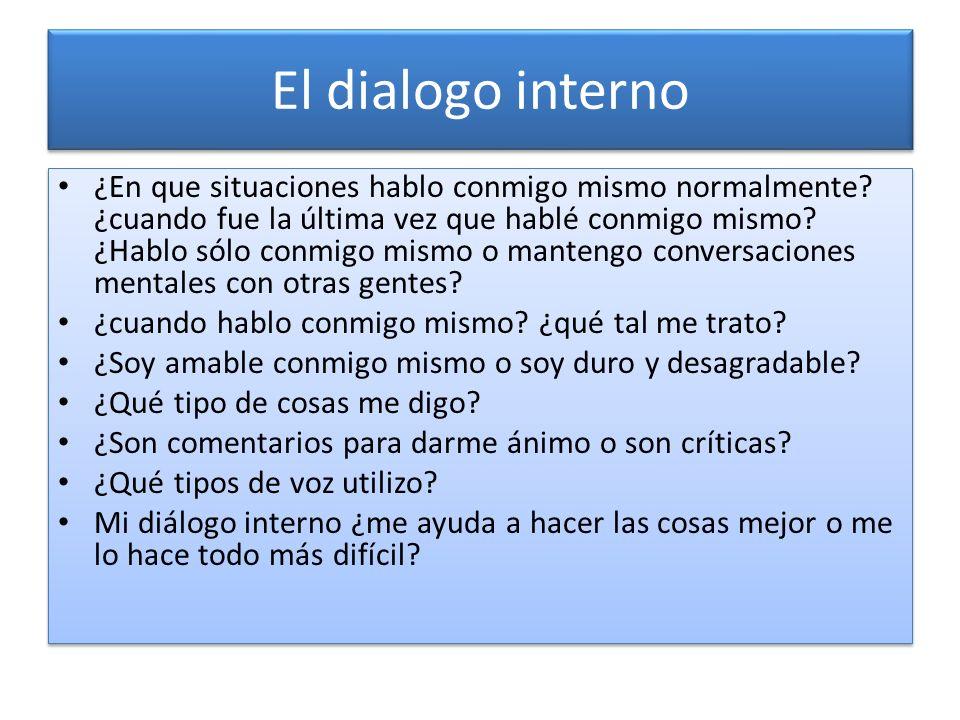 El dialogo interno ¿En que situaciones hablo conmigo mismo normalmente? ¿cuando fue la última vez que hablé conmigo mismo? ¿Hablo sólo conmigo mismo o