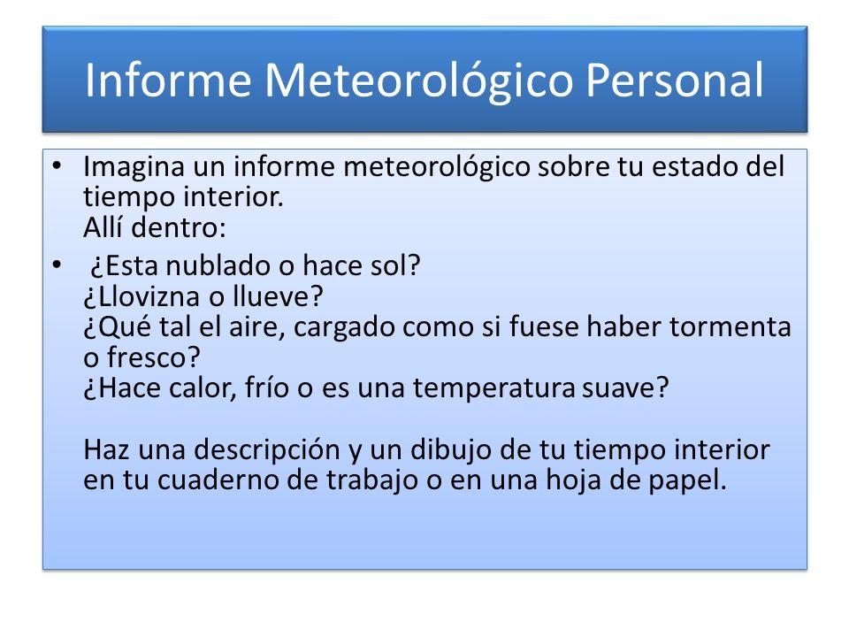 Informe Meteorológico Personal Imagina un informe meteorológico sobre tu estado del tiempo interior. Allí dentro: ¿Esta nublado o hace sol? ¿Llovizna