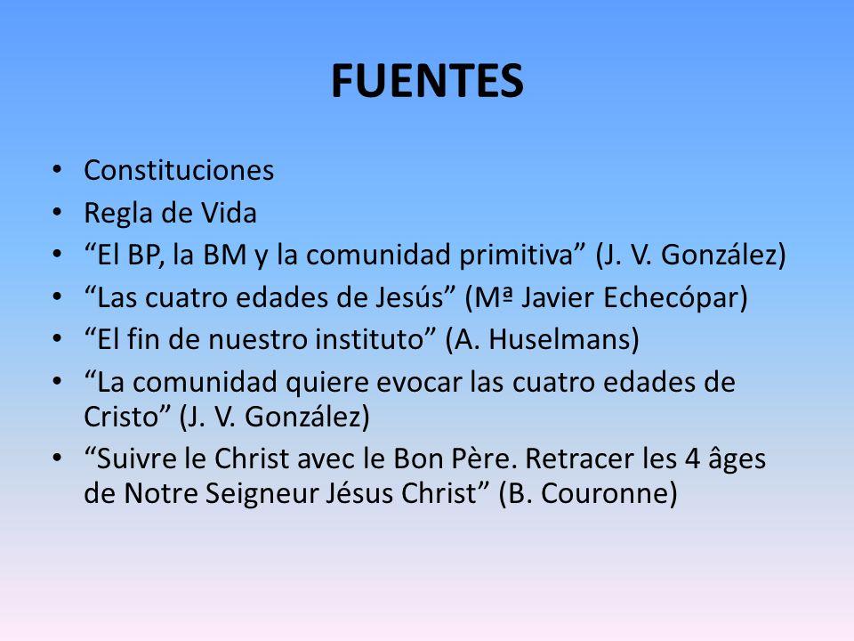 FUENTES Constituciones Regla de Vida El BP, la BM y la comunidad primitiva (J. V. González) Las cuatro edades de Jesús (Mª Javier Echecópar) El fin de