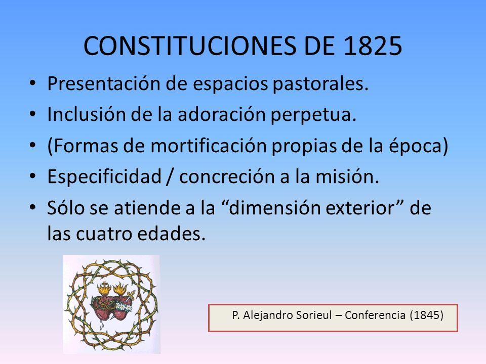 CONSTITUCIONES DE 1825 Presentación de espacios pastorales. Inclusión de la adoración perpetua. (Formas de mortificación propias de la época) Especifi