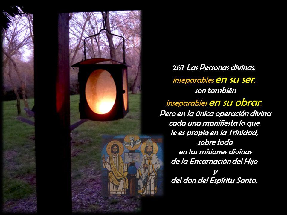 267 Las Personas divinas, inseparables en su ser, son también inseparables en su obrar. Pero en la única operación divina cada una manifiesta lo que l