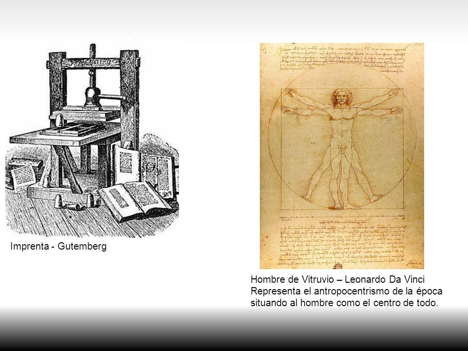 Hombre de Vitruvio – Leonardo Da Vinci Representa el antropocentrismo de la época situando al hombre como el centro de todo. Imprenta - Gutemberg