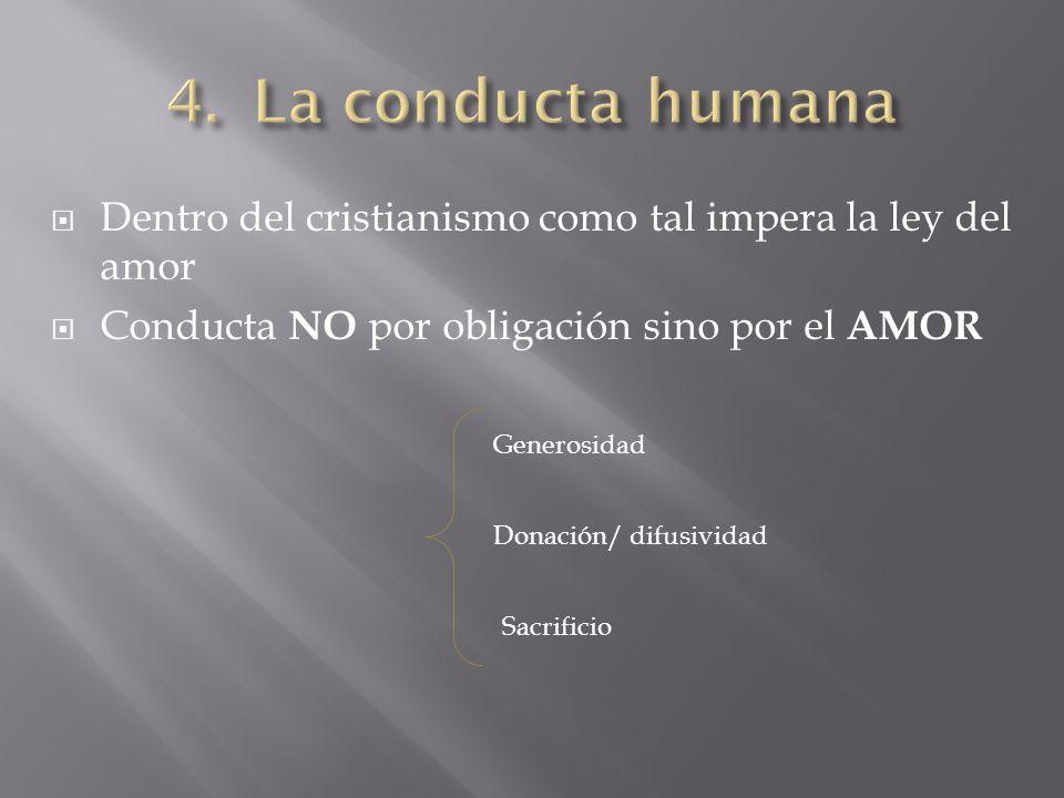 Dentro del cristianismo como tal impera la ley del amor Conducta NO por obligación sino por el AMOR Generosidad Donación/ difusividad Sacrificio