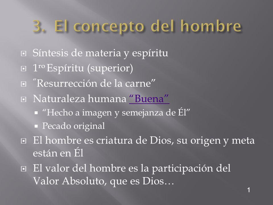 Síntesis de materia y espíritu 1 ro Espíritu (superior) Resurrección de la carne Naturaleza humana BuenaBuena Hecho a imagen y semejanza de Él Pecado