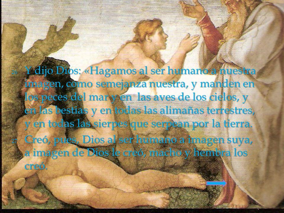 26 Y dijo Dios: «Hagamos al ser humano a nuestra imagen, como semejanza nuestra, y manden en los peces del mar y en las aves de los cielos, y en las b