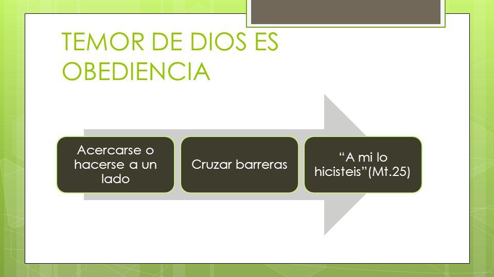 TEMOR DE DIOS ES OBEDIENCIA Acercarse o hacerse a un lado Cruzar barreras A mi lo hicisteis(Mt.25)