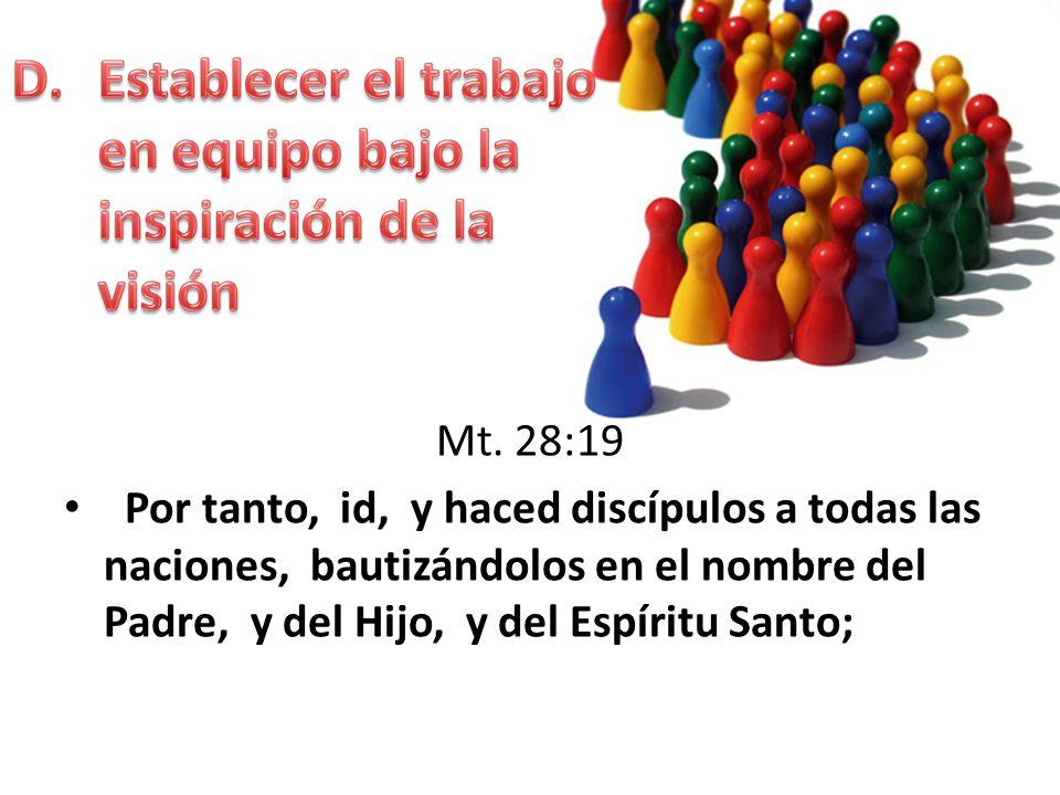 Mt. 28:19 Por tanto, id, y haced discípulos a todas las naciones, bautizándolos en el nombre del Padre, y del Hijo, y del Espíritu Santo;
