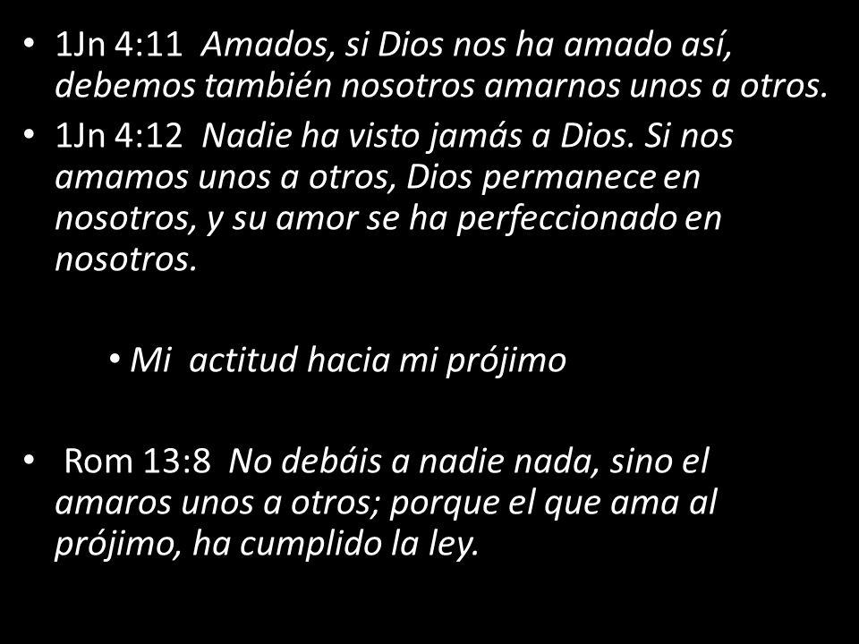 1Jn 4:11 Amados, si Dios nos ha amado así, debemos también nosotros amarnos unos a otros. 1Jn 4:12 Nadie ha visto jamás a Dios. Si nos amamos unos a o