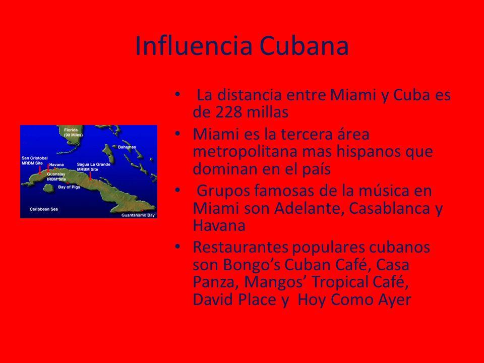 Influencia Cubana La distancia entre Miami y Cuba es de 228 millas Miami es la tercera área metropolitana mas hispanos que dominan en el país Grupos f