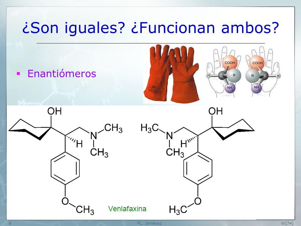 W[74] © L. Jiménez6 ¿Son iguales? ¿Funcionan ambos? Enantiómeros Venlafaxina