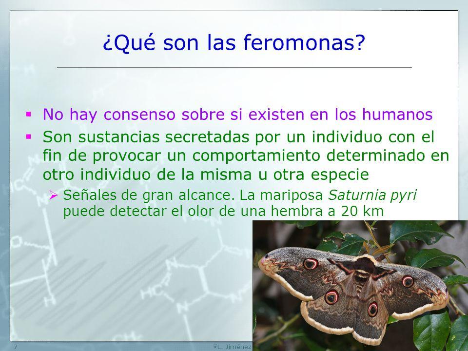 W[74] © L. Jiménez7 ¿Qué son las feromonas? No hay consenso sobre si existen en los humanos Son sustancias secretadas por un individuo con el fin de p