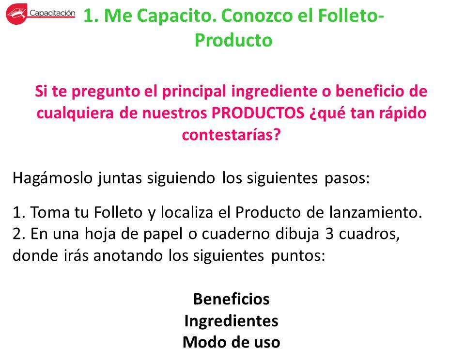 1. Me Capacito. Conozco el Folleto- Producto Si te pregunto el principal ingrediente o beneficio de cualquiera de nuestros PRODUCTOS ¿qué tan rápido c