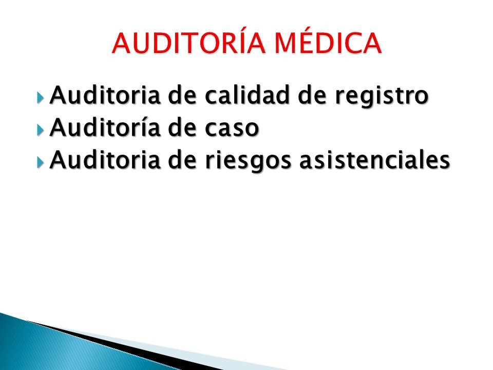 Auditoria de calidad de registro Auditoria de calidad de registro Auditoría de caso Auditoría de caso Auditoria de riesgos asistenciales Auditoria de