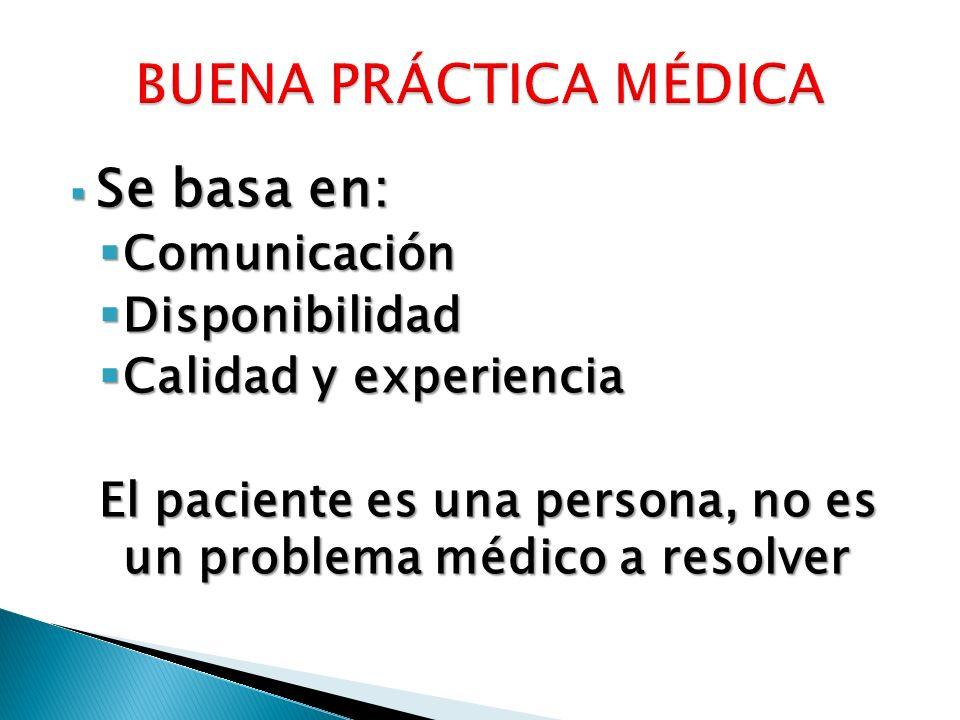 Se basa en: Se basa en: Comunicación Comunicación Disponibilidad Disponibilidad Calidad y experiencia Calidad y experiencia El paciente es una persona