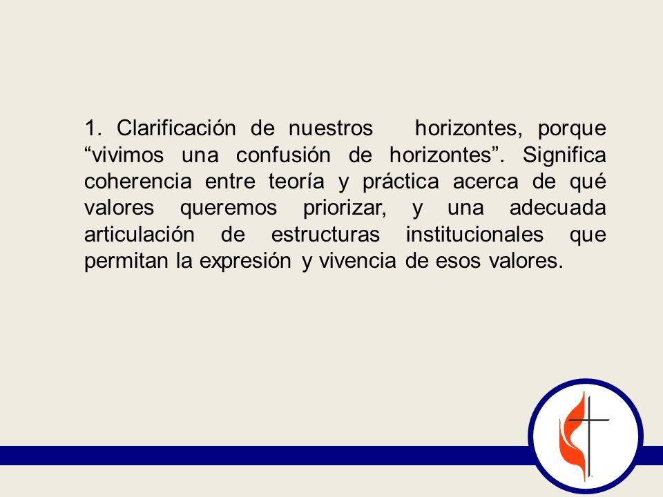 1. Clarificación de nuestros horizontes, porque vivimos una confusión de horizontes. Significa coherencia entre teoría y práctica acerca de qué valore