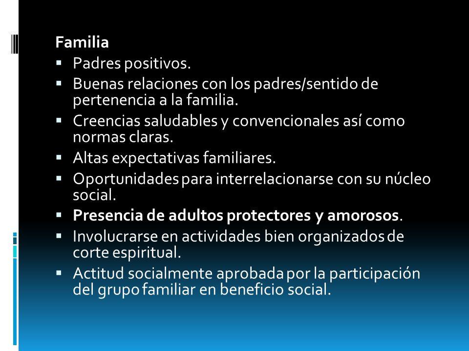 Familia Padres positivos. Buenas relaciones con los padres/sentido de pertenencia a la familia. Creencias saludables y convencionales así como normas