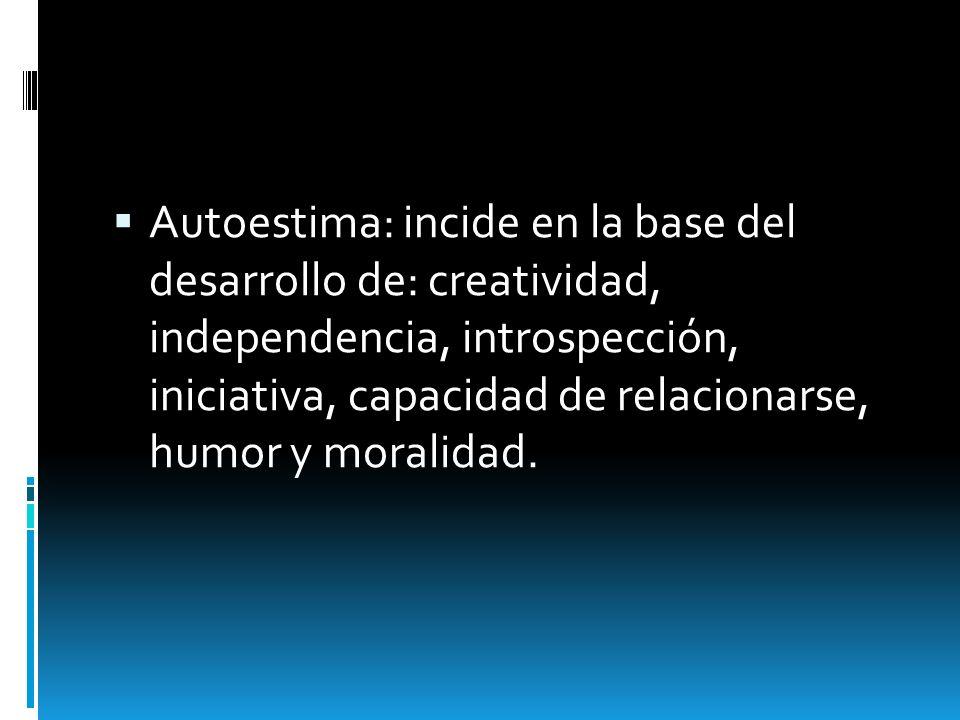 Autoestima: incide en la base del desarrollo de: creatividad, independencia, introspección, iniciativa, capacidad de relacionarse, humor y moralidad.