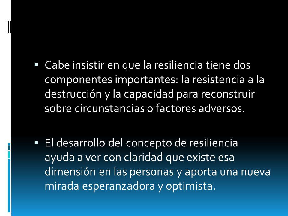 Cabe insistir en que la resiliencia tiene dos componentes importantes: la resistencia a la destrucción y la capacidad para reconstruir sobre circunsta