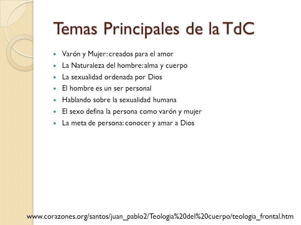 Temas Principales de la TdC Temas Principales de la TdC Varón y Mujer: creados para el amor La Naturaleza del hombre: alma y cuerpo La sexualidad orde