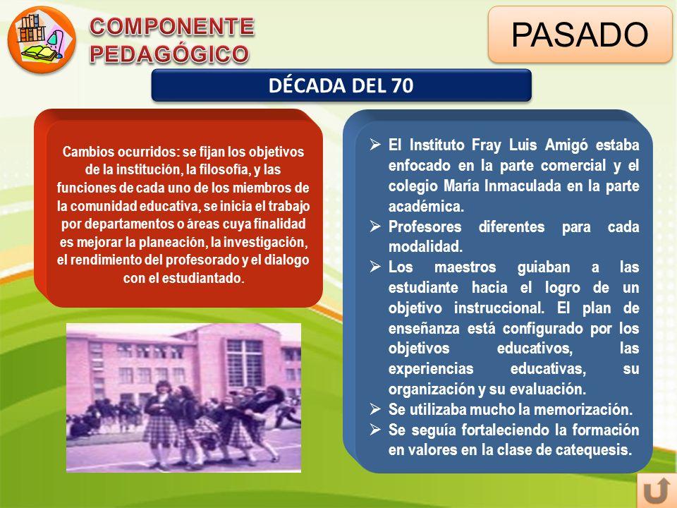 PASADO DÉCADA DEL 70 Cambios ocurridos: se fijan los objetivos de la institución, la filosofía, y las funciones de cada uno de los miembros de la comu