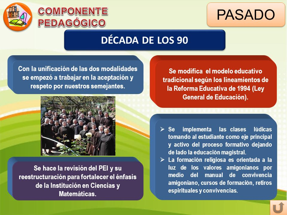PASADO DÉCADA DE LOS 90 Se modifica el modelo educativo tradicional según los lineamientos de la Reforma Educativa de 1994 (Ley General de Educación).