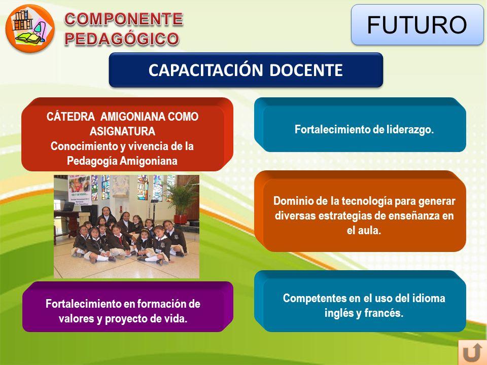 FUTURO CAPACITACIÓN DOCENTE CÁTEDRA AMIGONIANA COMO ASIGNATURA Conocimiento y vivencia de la Pedagogía Amigoniana Fortalecimiento de liderazgo. Domini