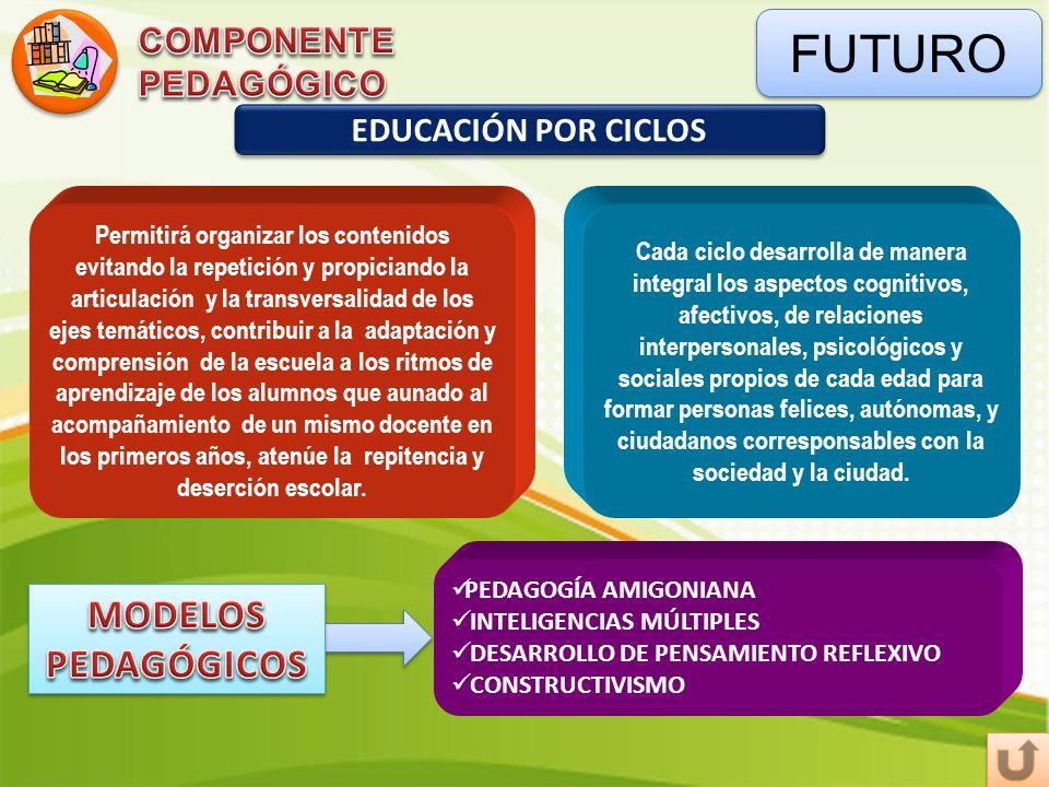 FUTURO EDUCACIÓN POR CICLOS PEDAGOGÍA AMIGONIANA INTELIGENCIAS MÚLTIPLES DESARROLLO DE PENSAMIENTO REFLEXIVO CONSTRUCTIVISMO Permitirá organizar los c
