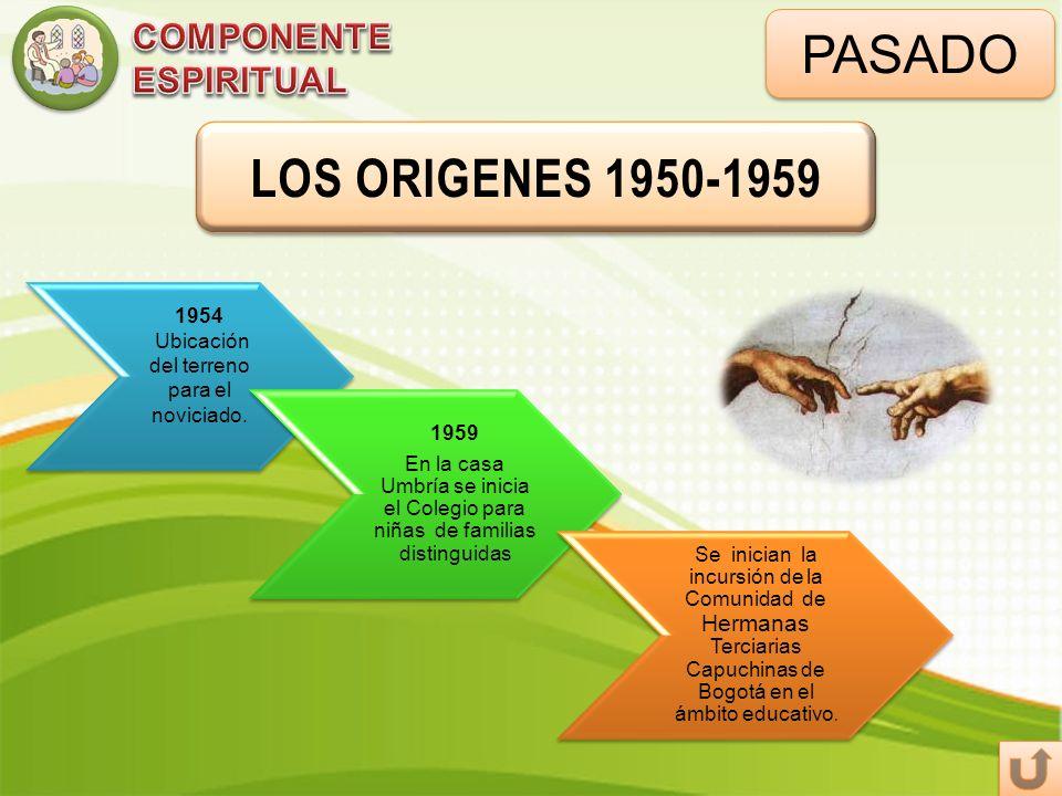PASADO LOS ORIGENES 1950-1959 1954 Ubicación del terreno para el noviciado. 1959 En la casa Umbría se inicia el Colegio para niñas de familias disting