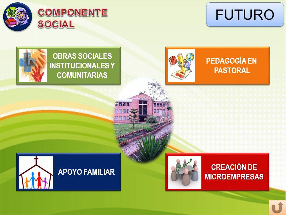 FUTURO PEDAGOGÍA EN PASTORAL PEDAGOGÍA EN PASTORAL OBRAS SOCIALES INSTITUCIONALES Y COMUNITARIAS OBRAS SOCIALES INSTITUCIONALES Y COMUNITARIAS CREACIÓ