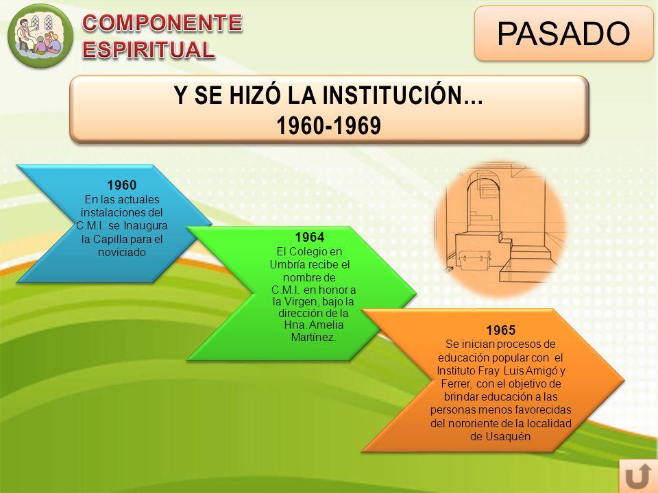 PASADO Y SE HIZÓ LA INSTITUCIÓN… 1960-1969 Y SE HIZÓ LA INSTITUCIÓN… 1960-1969 1960 En las actuales instalaciones del C.M.I. se Inaugura la Capilla pa