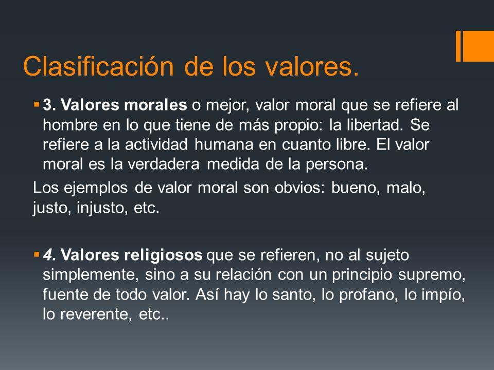 Clasificación de los valores.3.