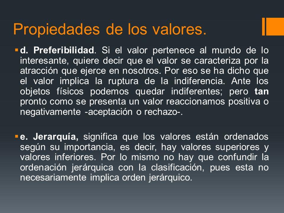 Propiedades de los valores.d. Preferibilidad.