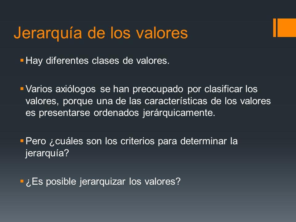 Jerarquía de los valores Hay diferentes clases de valores.