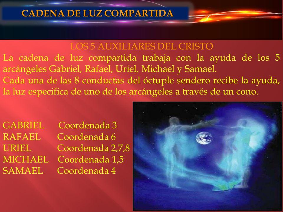 LOS 5 AUXILIARES DEL CRISTO La cadena de luz compartida trabaja con la ayuda de los 5 arcángeles Gabriel, Rafael, Uriel, Michael y Samael. Cada una de