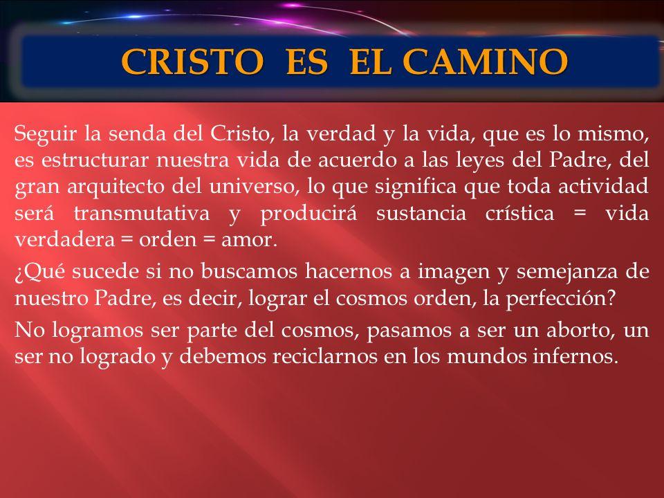Seguir la senda del Cristo, la verdad y la vida, que es lo mismo, es estructurar nuestra vida de acuerdo a las leyes del Padre, del gran arquitecto de