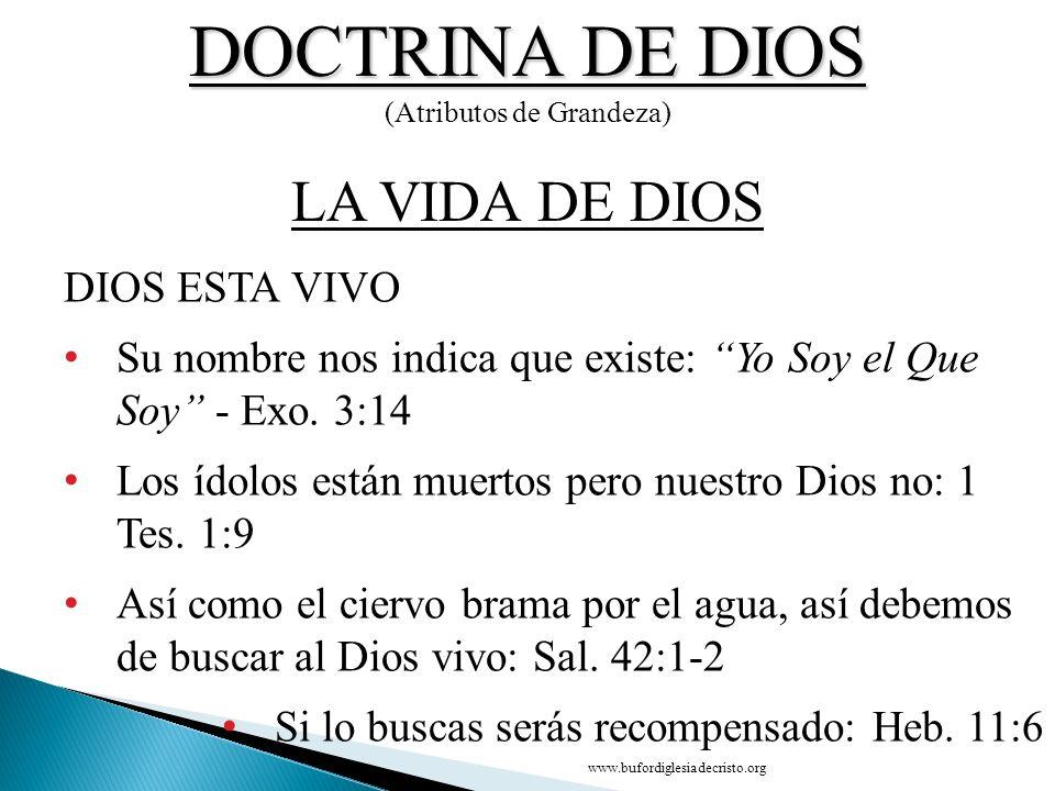 DOCTRINA DE DIOS (Atributos de Grandeza) DIOS ESTA VIVO Su nombre nos indica que existe: Yo Soy el Que Soy - Exo. 3:14 Los ídolos están muertos pero n