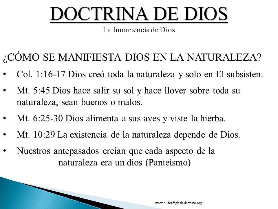 DOCTRINA DE DIOS La Inmanencia de Dios ¿CÓMO SE MANIFIESTA DIOS EN LA NATURALEZA? Col. 1:16 17 Dios creó toda la naturaleza y solo en El subsisten. Mt