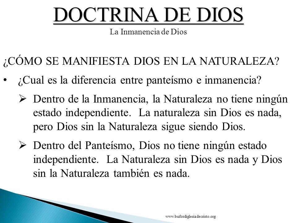 DOCTRINA DE DIOS La Inmanencia de Dios ¿CÓMO SE MANIFIESTA DIOS EN LA NATURALEZA? ¿Cual es la diferencia entre panteísmo e inmanencia? Dentro de la In