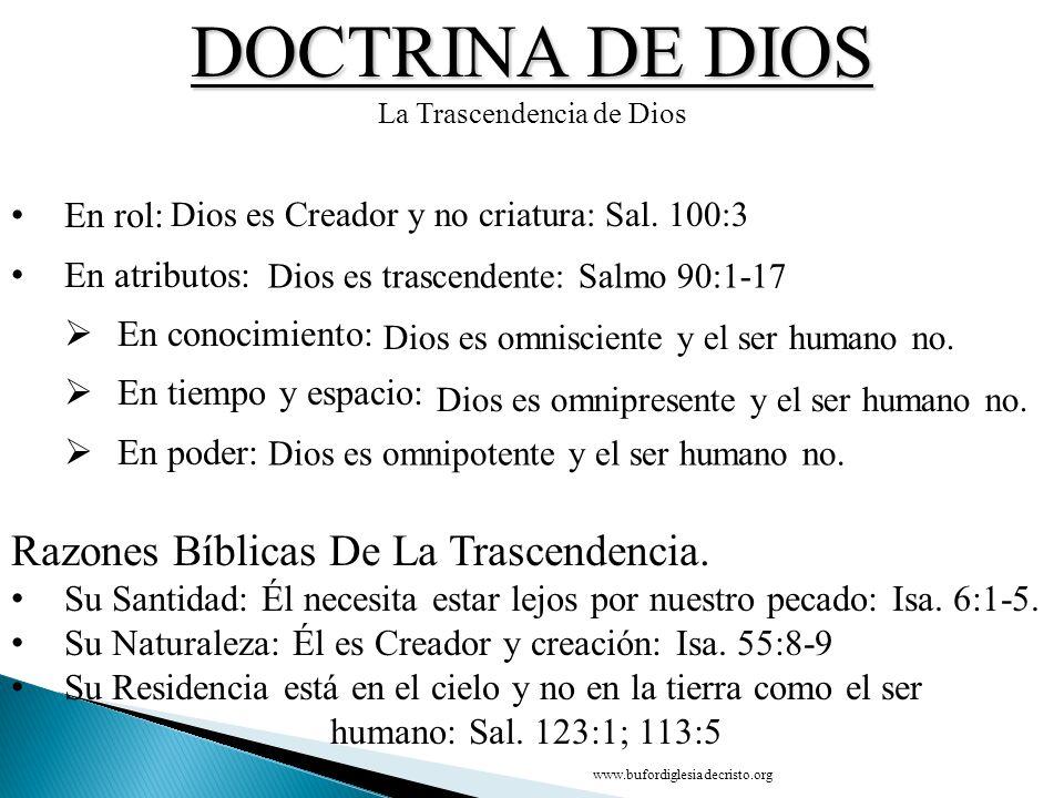 DOCTRINA DE DIOS La Trascendencia de Dios En rol: En atributos: En conocimiento: En tiempo y espacio: En poder: Razones Bíblicas De La Trascendencia.