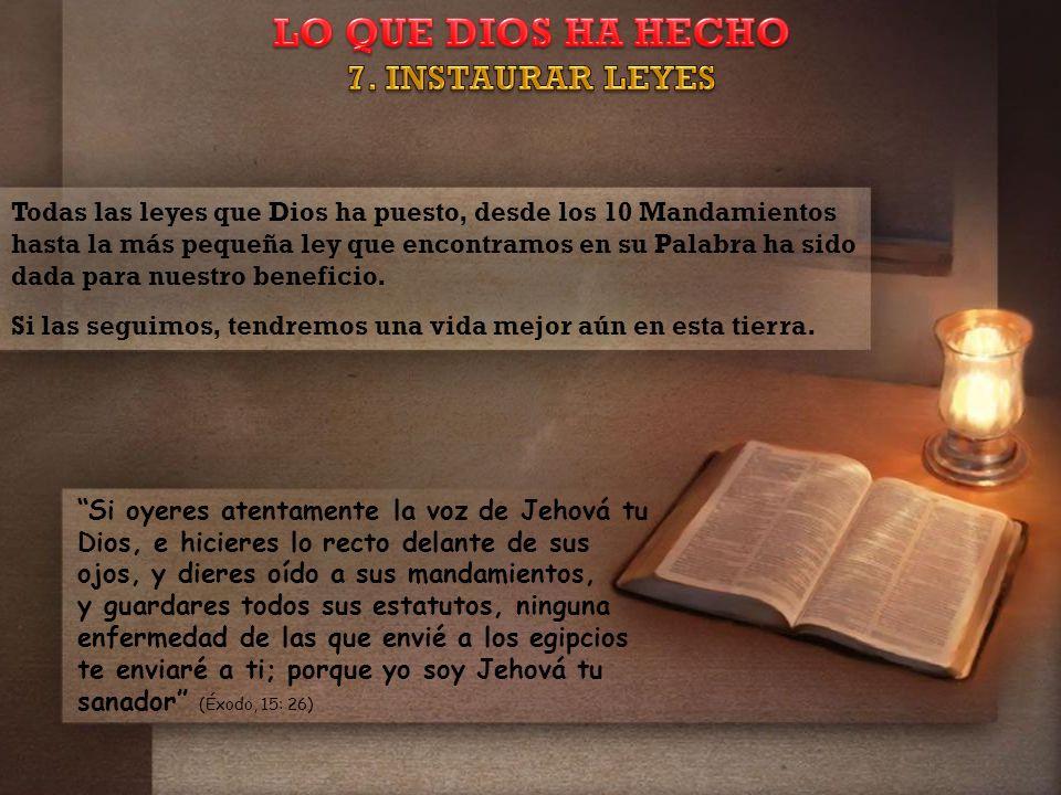 Todas las leyes que Dios ha puesto, desde los 10 Mandamientos hasta la más pequeña ley que encontramos en su Palabra ha sido dada para nuestro beneficio.