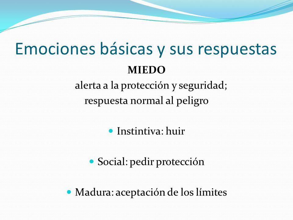Emociones básicas y sus respuestas MIEDO alerta a la protección y seguridad; respuesta normal al peligro Instintiva: huir Social: pedir protección Mad
