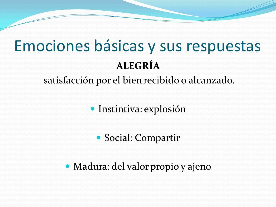 Emociones básicas y sus respuestas ALEGRÍA satisfacción por el bien recibido o alcanzado. Instintiva: explosión Social: Compartir Madura: del valor pr