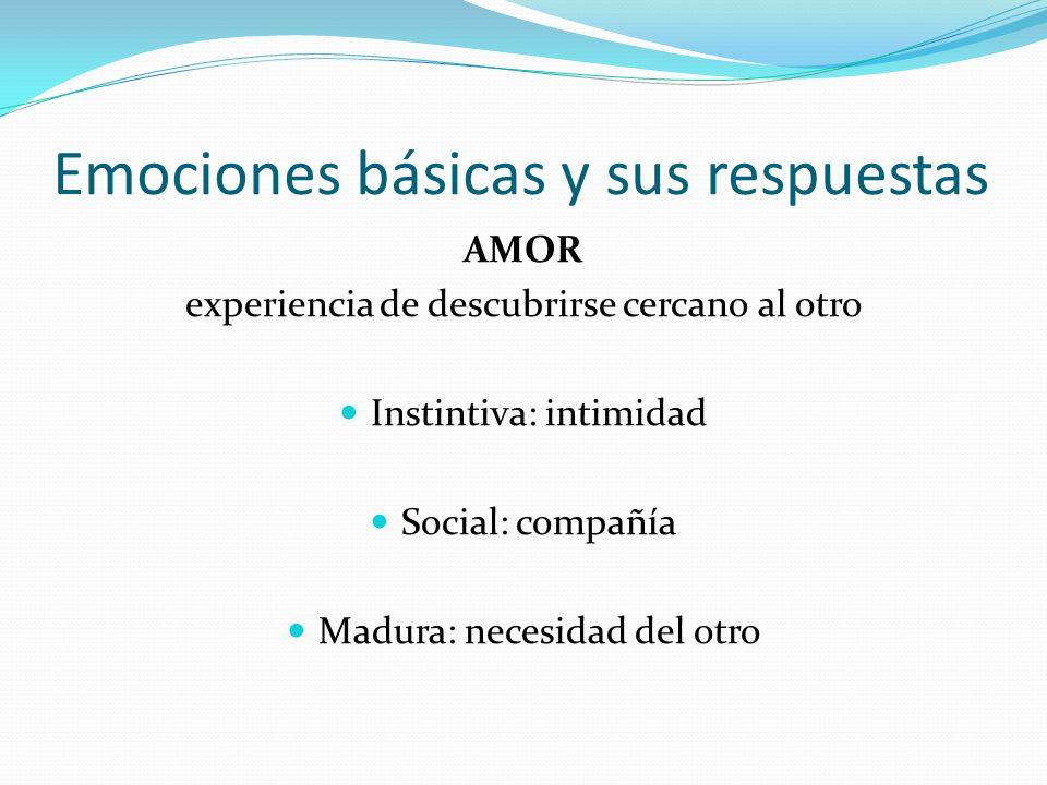 Emociones básicas y sus respuestas AMOR experiencia de descubrirse cercano al otro Instintiva: intimidad Social: compañía Madura: necesidad del otro