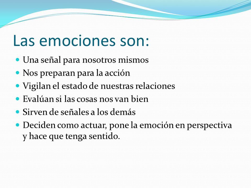 Las emociones son: Una señal para nosotros mismos Nos preparan para la acción Vigilan el estado de nuestras relaciones Evalúan si las cosas nos van bi