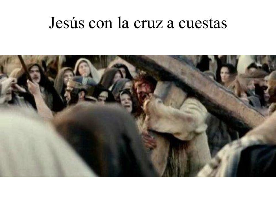 Jesús sufriendo con su cruz