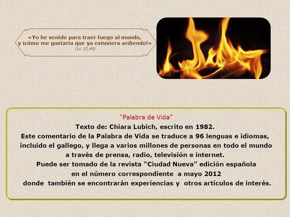 Un fuego encendido, aunque sea pequeño, si se alimenta puede llegar a ser un gran incendio. Ese incendio de amor, de fraternidad universal que Jesús t