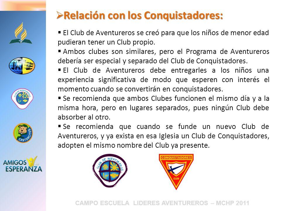 CAMPO ESCUELA LIDERES AVENTUREROS – MCHP 2011 Relación con los Conquistadores: Relación con los Conquistadores: El Club de Aventureros se creó para qu